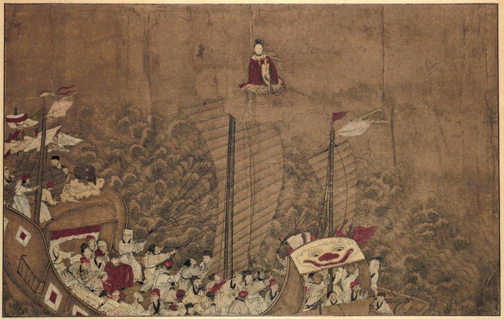 Lukisan Dewi Tian Shang Sheng Mu (天上圣母) Menyelamatkan Rombongan Kekaisaran Song Ke Goryeo (Korea)