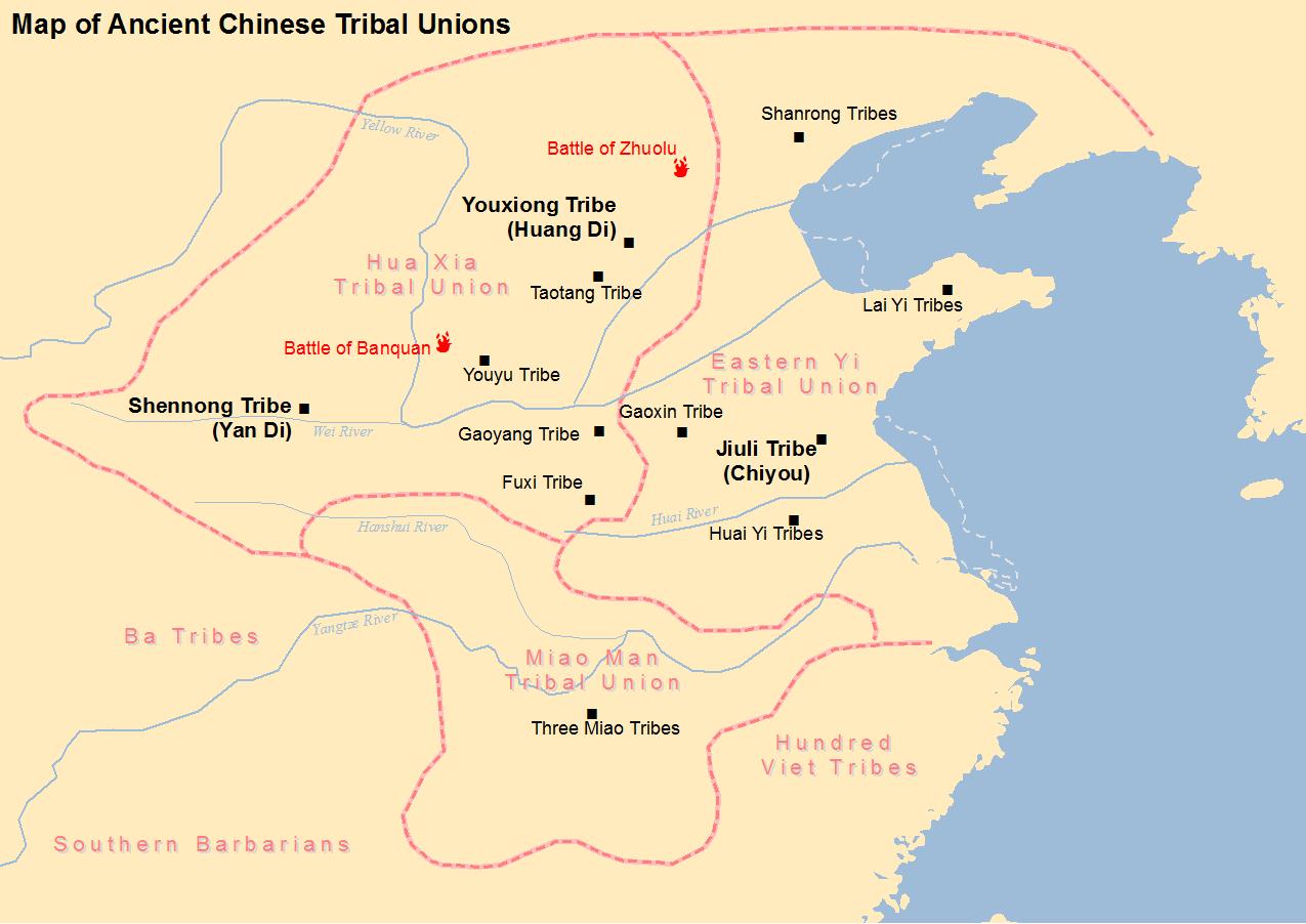 Peta Tiongkok Kuno masa Huang Di