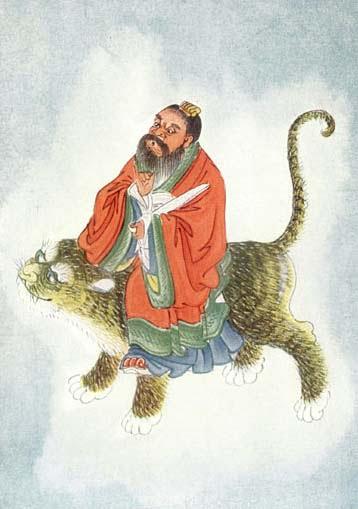 Zhang Tian Shi (张天师) / Zhang Dao Ling (张道陵) Menunggangi Harimau (Oleh: E. T. C. Werner)